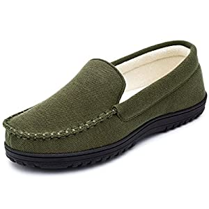 Cozy Niche Men's Moccasin Slippers, Anti-Slip House Shoes, Indoor Outdoor Rubber Sole Loafers