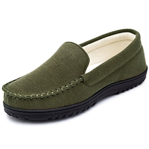 (Cozy Niche Men's Moccasin Slippers, Anti-Slip House Shoes, Indoor Outdoor Rubber Sole Loafers (10 D(M) US, Army Green))