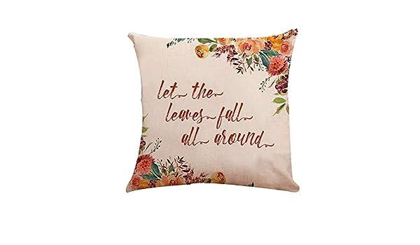 Funda de almohada de algodón y lino, diseño de hojas ...