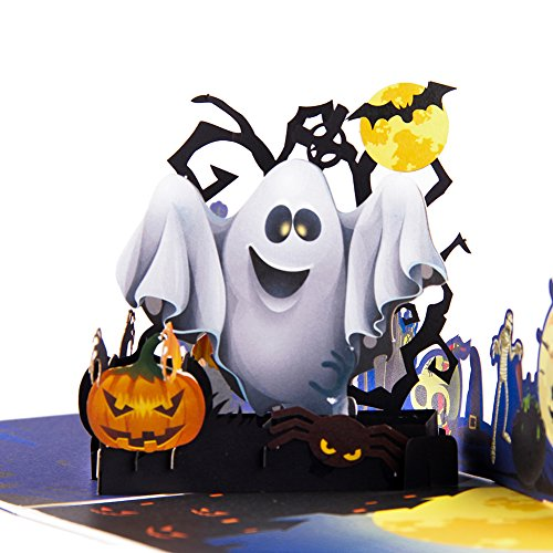Paper Spiritz Upgrated Color Printing Pop up Halloween Card Pumkin and Ghost 3D Handmade Greeting Card for Kids Mom Dad with Note Card and Envelope - 6
