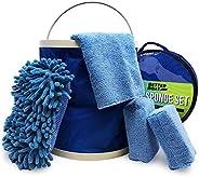 Boat Cleaner Microfiber Sponge Bucket and Microfiber Wash Cloths Interior Exterior Seats and Fibreglass Hull C