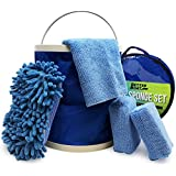 Boat Cleaner Microfiber Sponge Bucket and Microfiber Wash Cloths   Interior Exterior Seats and Fiberglass Hull Cleaning Kit Washing Sponges