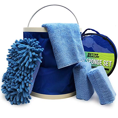 (Boat Cleaner Microfiber Sponge Bucket and Microfiber Wash Cloths | Interior Exterior Seats and Fiberglass Hull Cleaning Kit Washing)