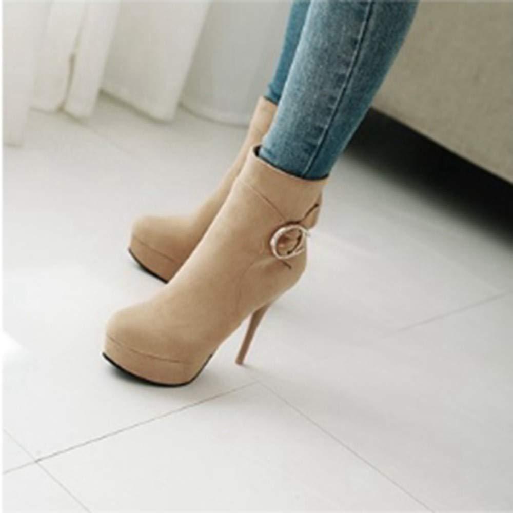 YSFU Stiefel Frauen Stiefelies Comfy Fashion Solid Farbe Schuhe Schuhe Schuhe High Heels Mit Hohem Absatz Damen Stiefel Casual Herbst Winter 23398b