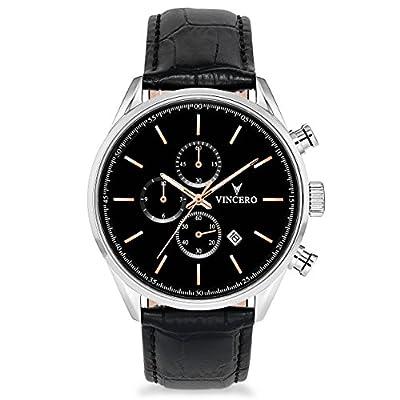 Vincero Luxury Men's Chrono S Wrist Watch - Top Grain Italian Leather Watch Band - 43mm Chronograph Watch - Japanese Quartz Movement