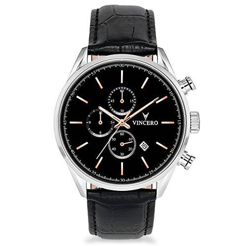 Gold Black Leather Watch - Vincero Luxury Men's Chrono S Wrist Watch — Black/Rose Gold with Black Leather Watch Band — 43mm Chronograph Watch — Japanese Quartz Movement