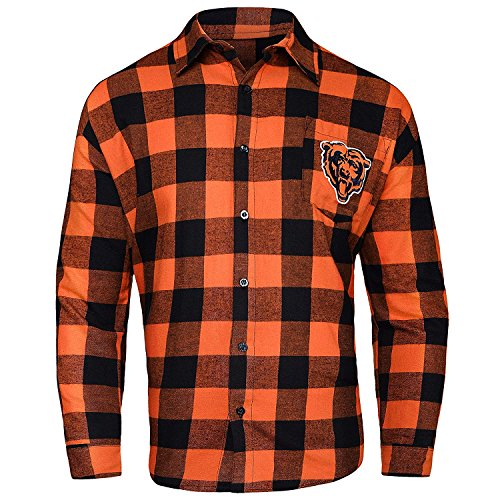 NFL Mens Large Check Long Sleeve Flannel Shirt (Chicago Bears , XL)