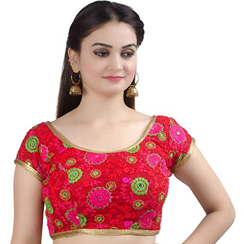 Chandrakala Women's Designer Bollywood Readymade Red Indian Style Saree Blouse Padded Brocade Choli-X-Large (B129RED5)