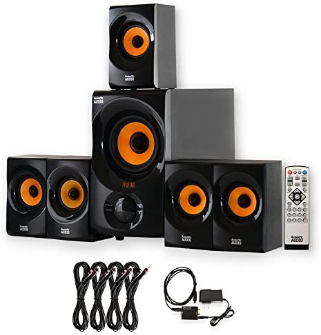 Acoustic Audio AA5170 House 5.1 Bluetooth Speaker System with Optical Enter and 4 Extension Cables
