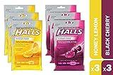HALLS Sugar Free Cough Drops Honey Lemon & Black Cherry Variety Pack - 150 total drops