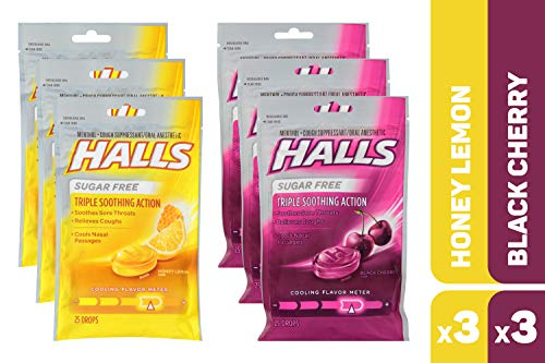 HALLS Sugar Free Cough Drops Honey Lemon & Black Cherry Variety Pack - 150 total drops