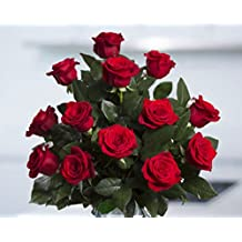 Flowers for delivery on Amazon Bouquet of 25 RED Fresh Roses Delivered with Free Flower Food Packet. Long Stem Rose in Bud Form. Guaranteed Best Flower Gift for BIRTHDAY, ANNIVERSARY, WEDDING
