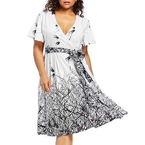 iLUGU Fashion Women Plus Size V-Neck Bandage Short Sleeve Print A-Line Dress