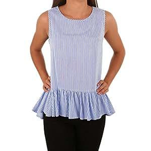 Beikoard - Blusa para mujer, sin mangas, sin mangas, sin mangas, sin mangas, sin mangas, sin mangas, camiseta azul L