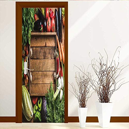 Vineyard Salad - Muyindo Repositionable Fabric Mural Fresh raw vege Ingredients for Healthy Cooking or Salad Making with Rustic Wooden trayin Self Adhesive Wallpaper for Home Bedroom Decor W38.5 x H77