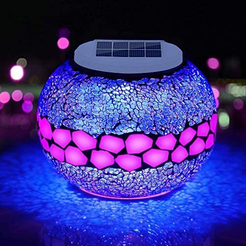 Pandawill Mosaic Solar Glass Garden Decoration Light, Rechargeable Color-Changing Solar Table Lamp, Waterproof LED Night Light for Garden, Party, Bedroom, Patio, Indoor Outdoor Decoration, Ideal Gift