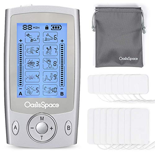 - OasisSpace Tens Unit Independent Dual Channel Muscle Stimulator Machine with 10 Modes, 2