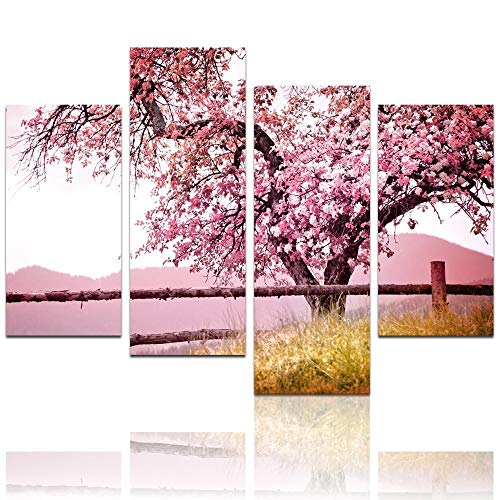 LevvArts Plum Tree Blossom Art,Spring Flowers Canvas Print for Home Wall Decor,Framed,4 Panels Cherry Blossom Wall Art, 48' W x 32' H Overall