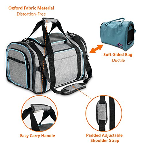 Airline Approved Pet Carrier Expanable- SUKI&SAMI Four Side EXpansion Oxford Portable Sofe-Sided Air Travel Bag for Small or Medium Dog and Cats by SUKI&SAMI (Image #2)