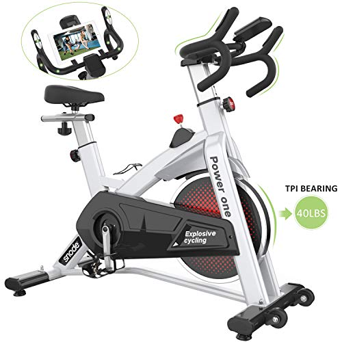 (SNODE Indoor Cycling Spin Bike Trainer 40lb flywheel - Stationary Belt Drive Exercise Bike with High Weight Capacity, Tablet Holder, LCD Monitor for Professional Cardio Workout(Model: 8729 2019 New))