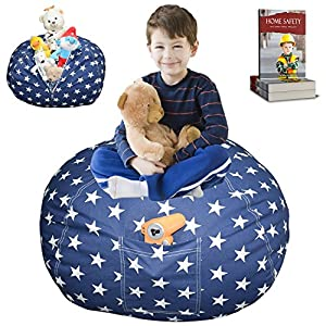 Parent's Proven DaMeru EXTRA LARGE Stuffed Animal Storage Bean Bag Cover | Premium Kid's Plush Toy Storage Solution | Available in 6 Patterns | Free E-Book (Navy Star)