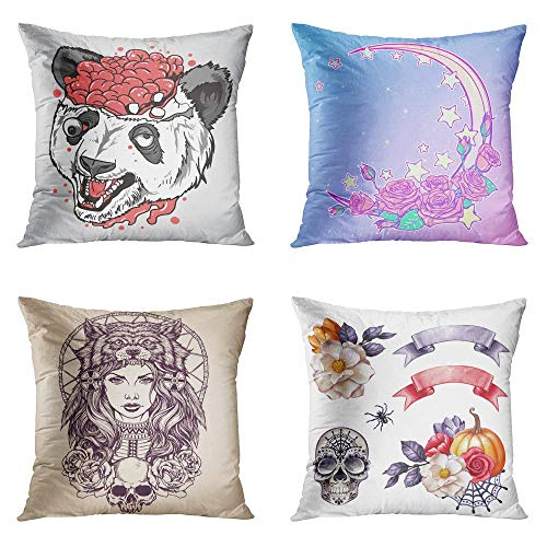 Caveira No Halloween (Janyho Set of 4 Throw Pillow Covers Square Halloween Dia De Muertos Night Sky Roses Native American Girl Wolf Headdress Clip Autumn Home Sofa Bedroom Cushion Cases Polyester Pillowcase 20x20)