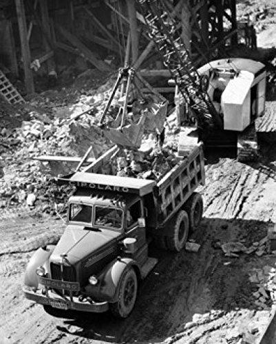Posterazzi Excavator loading dirt into a dump truck Poster Print (18 x 24)