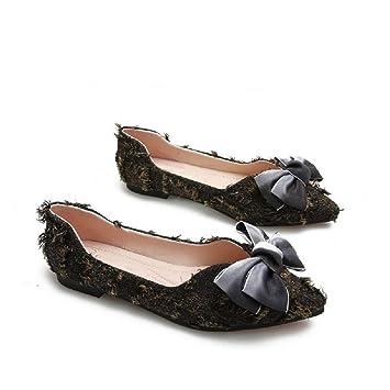 0467cbe0b48c2e Fuxitoggo Ballerines Grande Taille Femme Chaussures à Bout Pointu (coloré :  Noir, Taille :