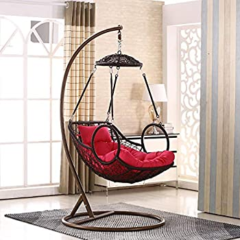 Rattan Chair Hanging Basket Wicker Chair Indoor Swing Rocking Chair Balcony Bird nest Lazy Chair Hammock Cradle Chair Adult -H 70x105x200cm(28x41x79)