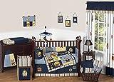 baby bedding robot - Sweet Jojo Designs Modern Robot Navy, Yellow, Stripes 9 Piece Baby Bedding Boy Crib Set