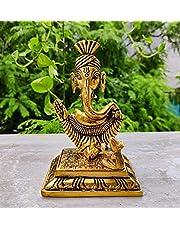 Wonder Care | Ganesha Lakshmi Statue Sculpted in Great Detail in Ivory Antique Finish - Ganesh Idol for Car | Home Decor | Mandir | Gift | Hindu God Idol