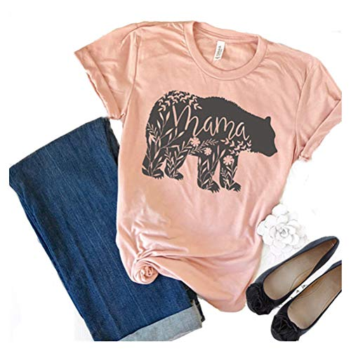 Mom Womens Pink T-shirt - Women's Floral Mama Bear Print Crew Neck Short Sleeve T Shirts for Mom Mother's Gift Pink