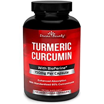 Turmeric Curcumin with BioPerine Black Pepper Extract - 750mg per Capsule, 120 Veg. Capsules - GMO Free Tumeric, Standardized to 95% Curcuminoids for Maximum Potency