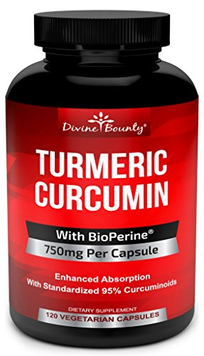 Turmeric Curcumin with BioPerine Black Pepper Extract - 750mg per Capsule, 120 Veg. Capsules - GMO Free Tumeric, Standardized to 95% Curcuminoids for Maximum Potency (Best Supplements For Alzheimer's)