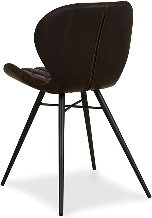 Homy Stuhl Leder braun Metall Metallgestell schwarz Vintage