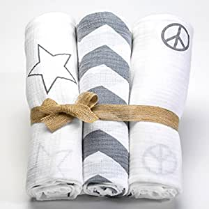Baby soft Swaddle Blanket Organic Cotton Muslin 3 Pack shower gift + stroller clips