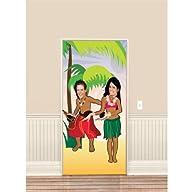 Amscan Sun-Sational Summer Luau Hula Dancers Photo Op Door Banner (1 Piece), Multi Color, 10.7 x…
