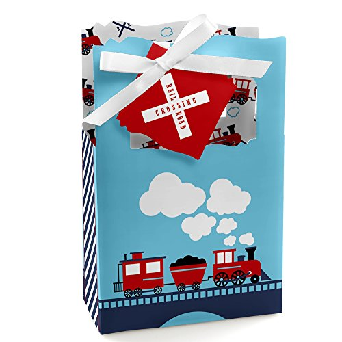 Railroad Party Crossing - Steam Train Birthday Party or Baby Shower Favor Boxes - Set of 12