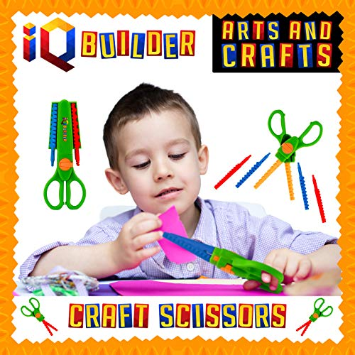 IQ BUILDER | Craft Scissors for Kids | Arts and Crafts Supplies | Zig ZAG Scissor with Decorative Edge for DIY Scrapbook Paper Cutting Fun | 9 Design Patterns | Best Art Toy Gift for Boys and Girls