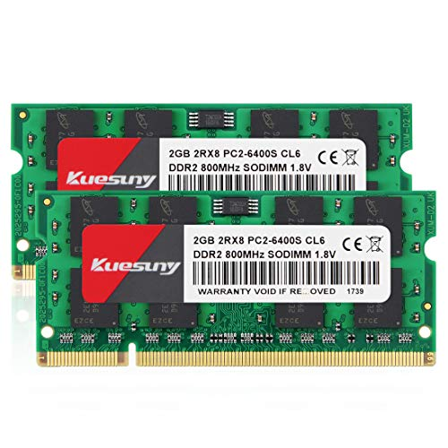 (4GB Kit (2GBX2) DDR2 800 Sodimm RAM, Kuesuny PC2-6400/PC2-6400S 1.8V CL6 200 Pin Non-ECC Unbuffered Notebook Laptop Memory Modules)