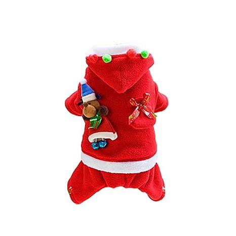 Aubess - Disfraz de Perro de Navidad para Perros, de Terciopelo de Invierno cálido Abrigo