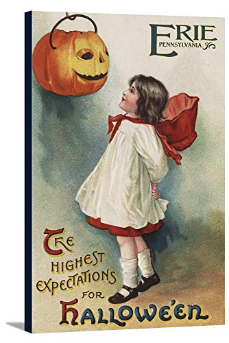Erie, Pennsylvania - Halloween Greeting - Girl in Red and White - Vintage Artwork (24x36 Gallery Wrapped Stretched Canvas)]()