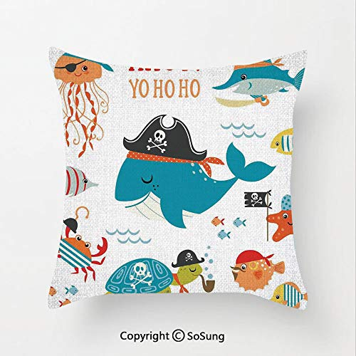 (SoSung Kids Linen Throw Pillow Cushion,Ahoy Pirate Whale Turtle Pipe Hook Crab Octopus Captain Starfish Swordfish Nautical Underwater Print,17.7x17.7Inches,for Sofa Bedroom Car & Home Decorate)