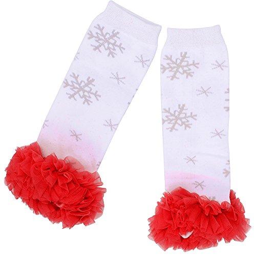 Aerusi 1 Pair Cute Lace Flower Kids Leg Protector (Red/White Snowflake) -