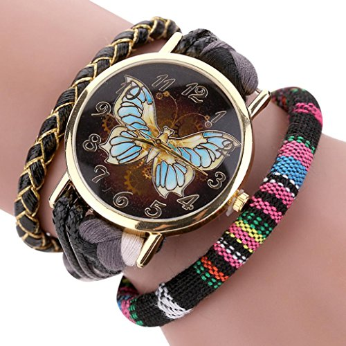 AutumnFall® The Sleek Stylish and Chic Knit Bracelet Butterfly Watch Ladies Decorative (Brown)
