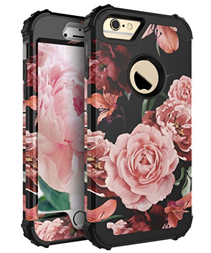 RabeMall Case for iPhone 7,Case for iPhone 8 Pretty Flowers for Girls/Women Anti-Fingerprint and Scratch-Resistant Three Layer High Impact Resistant Hybrid Protective Cover,Floral Black