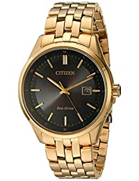 Citizen Men's 'Eco-Drive Dress' Quartz and Stainless-Steel Automatic Watch, Color: Gold-Toned (Model: BM7252-51E)