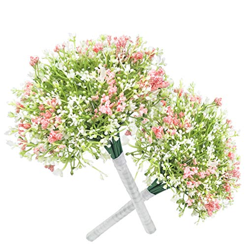 cn-Knight Artificial Flowers 2pcs 12'' Baby Breath Bouquets Faux Gypsophila for Wedding Bridal Bouquet Bridesmaid Home Decor Housewarming Gift Centerpieces Office Baby Shower Reception(White&Pink) ()