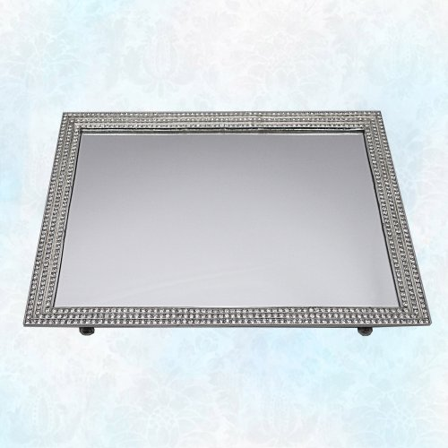 Sterling Silver Rectangular Mirror (Sterling Silver Tone Vanity Mirror Tray with Three Lined Beautiful Genuine Crystal Embellished Border. Elegant Design)