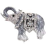 EVER FAITH Elephant Brooch Silver-Tone Black Enamel Austrian Crystal